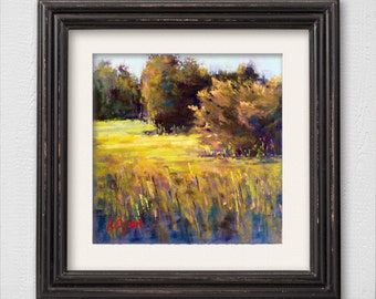 "Original Pastel Painting ""Golden Field"""
