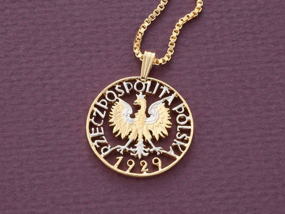 Polish eagle pendant and necklace poland one zloty coin hand aloadofball Choice Image