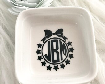 Monogrammed Ring Dish, Ring Dish, Monogram Dish, Ring Holder, Ring Organizer, Jewelry Holder, Monogrammed Ring Holder, Stocking Stuffers