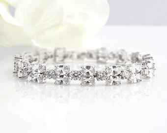 Sienna - Bridal Cubic Zirconia Bracelet, Wedding Swarovski Bracelet, Crystal  Bracelet,  CZ Oval Bracelet, Wedding Bridal Jewelry