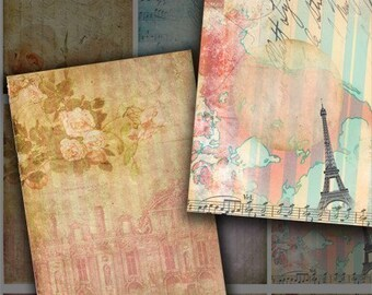 Garden- 9 Digital background designs for ATC, Aceo and Tags-Printable Collage Instant Download