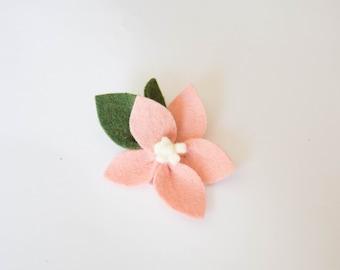 Peach Coral Felt Flower, Clip or Headband, Handmade