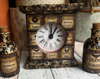 Harry Potter Potions Clock. With FREE Potion Bottle of your choice. Harry Potter Gift. Harry Potter Decor. Unique Spells Clock