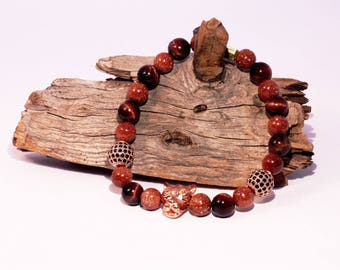 Handmade Red Tiger Eye, Gold Sandstone, Black and Rose Gold Cubic Zirconia, and Rose Gold Leopard Head Elastic Bracelet