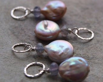 Coin Pearl and Iolite Charm Pendant #64