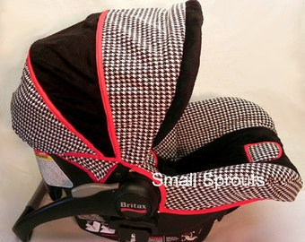Custom Boutique Black Houndstooth/Black Minky/Red Trim Infant Car Seat Cover 5 piece set