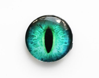 20mm handmade glass eye cabochon - turquoise cat or dragon eye - standard profile