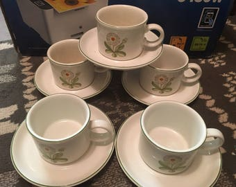 Vintage set 5 cup and saucers by midwinter floral design