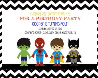 Super Hero Birthday Invitation- Printable
