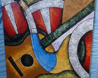 Painting musical instrument 70 x 90 cm made home decor, canvas, modern