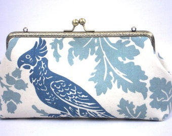 Blue Parrot Clutch Purse, Prom Evening Bag, Wedding Clutch, Ivory and Blues Clutch by WhiteCross Designs, Ready to Ship from USA