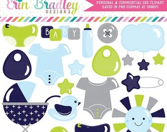 80% OFF SALE Baby Boy Clipart Baby Shower Clip Art Graphics Stroller, Duck, Baby Tees, Safety Pin, Stars, Diapers, Baby Bottle