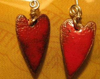 Red Enamel Heart Earrings 2