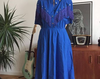 80's blue country dress