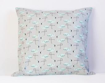 Flamingo pillow cover, gray and teal cushion cover, bird pillow cover, nursery decor, cute throw pillow