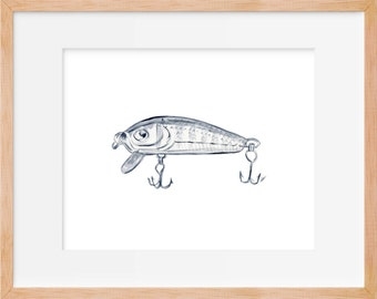Fishing Lure Rustic Art Print Gifts For Him Wall Art Fishing Lures Watercolor Farmhouse Home Decor Gifts for Men Rustic Decor Boho Fishing