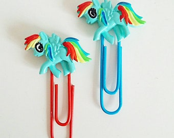 Set of 2 rainbow pony large  jumbo paper clips for planner journal diary etc.
