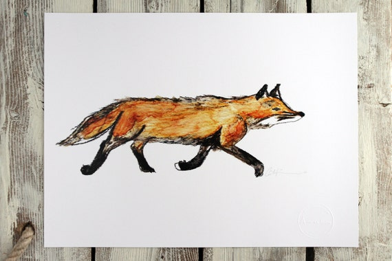Watercolour print - LITTLE FOX from the Islands - watercolour print