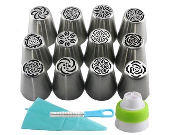 15Pcs Stainless Steel Russian Icing Piping Nozzles Pastry Tips Cake Decorating Cupcake Dessert Baking Tools SL37