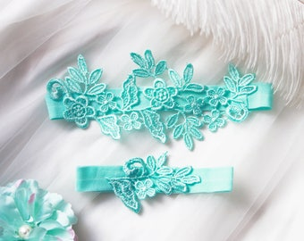 Wedding Garter Set Bridal Garter Belt - Aqua Blue Garter Belt - Rustic Bridal Lace Garters - Cyan Garters Belts Something Blue Garter Mint