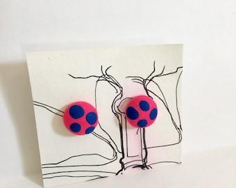 Pink and Blue Mushroom Cap Stud Earrings