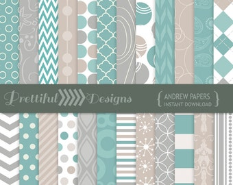 Turquoise Digital Paper Gray, Taupe Backgrounds - Personal and Commercial Use - Andrew