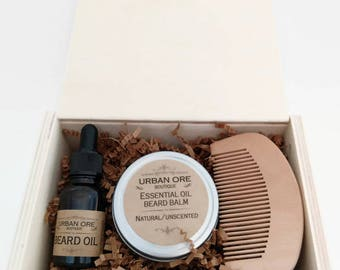Beard Gift Set with Beard Oil, Beard Balm and Wooden Comb in Wooden Giftbox, Father's Day, Gift for Men, Beard Grooming, Beard Care