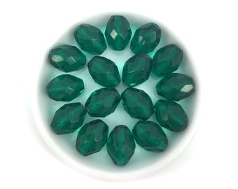 9x12 Emerald Green Faceted Oval Bead, Czech Fire Polished, 10pcs, 1537F