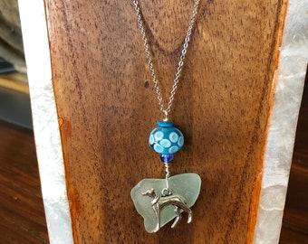 Greyhound Sea Glass Charm Necklace Blue Bead