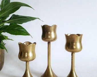 20% OFF SALE brass metal candle holders set of 3 | vintage mid century solid brass tulip candlestick holders | table centerpiece mcm