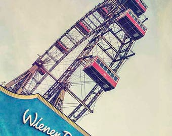 Nursery Print, Vienna Art, Ferris Wheel Photography, Vienna Print, Carnival Wall Art, Travel Photography, Blue, Red