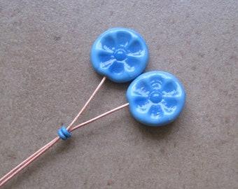Lampwork Headpins - Glass Headpins - Flower Glass Headpins - Copper wire - Glass Headpins Pair - SueBeads - Headpins - Glass Heapins