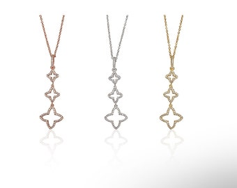 Triple Clover Necklace CZ 925 Silver Yellow Rose Gold