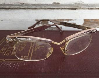 Vintage EyeGlasses Aluminum Gold Filled Bausch and Lomb Modern Plastic Lenses