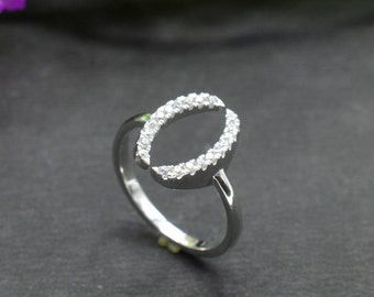 Natural Zircon Round Gemstone Ring 925 Sterling Silver R153