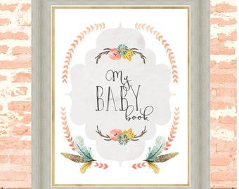 Printed, Baby Memory Book Pages, Bohemian