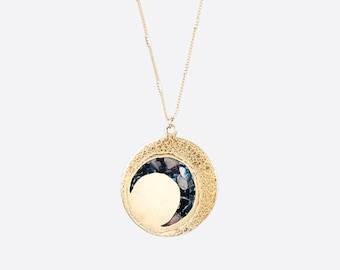 Moon Phase Necklace — Black Crescent or White Crescent | black moon necklace | gold full moon jewelry | celestial gift | witchy moon jewelry