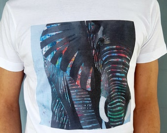 Elephant Men's T-shirt, 100% natural cotton t-shirt with elephant illustration, animal illustration t-shirt, art clothing, unisex t-shirt