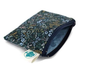 Coin Purse - Coin Bag - Change Purse - Small Cosmetic Bag - Zipper Pouch - Change Pouch - in Rifle Paper Co Navy Taspestry