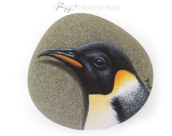 Unique Emperor Penguin's Head Hand Painted on A Flat Sea Rock | An Original Artistic Paperweight for All Nature Lovers
