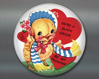vintage Valentines day gift for her - funny valentine card for girlfriend - fridge magnet for the kitchen decor - MA-1354