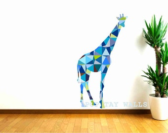 Giraffe Wall Decals, Blue Giraffe Decal, Geometric Pattern giraffe, Kids Wall decals, animal wall decal, safari animal, baby shower gift