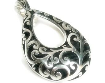 Sale| Clip On Pendant, Vine Scroll Interchangeable Teardrop Pendant, Magnetic Pendant, DIY Jewelry, Instant Necklace, Removable Pendant, Sil