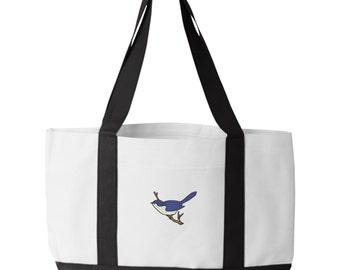 Blue Bird Tote Bag. Embroidered Blue Bird Tote. Blue Bird Tote Bag. Animal Lover Tote. Blue Bird Tote Bag. Bird Bag.  7002