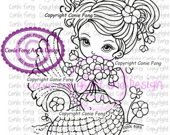 Digital Stamp, Digi Stamp, digistamp, Flowers on the beach by Conie Fong, Coloring Page, mermaid, girl, fantasy, flowers, children