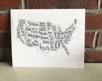 Hand lettered US map