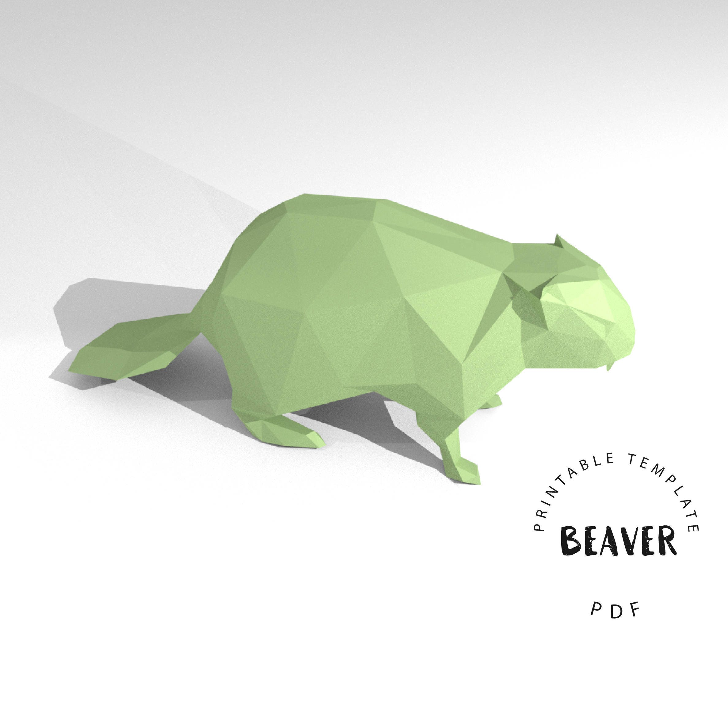 Printable diy template pdf beaver low poly paper model template this is a digital file jeuxipadfo Choice Image