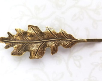 Large Oak Leaf Antiqued Gold Bobby Pin, Hair Pin, Woodland Wedding, Rustic, Fall, Nature, Forest, Garden Inspired, Bridesmaids Gift