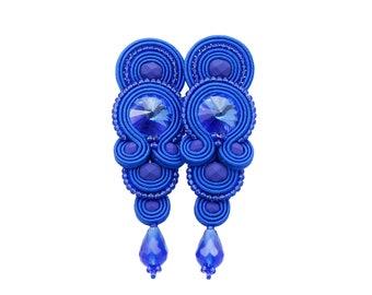 AVAILABLE - Stylish soutache earrings 'glamour cobalt soutache'. Handmade orginal and exlusive earrings with beads