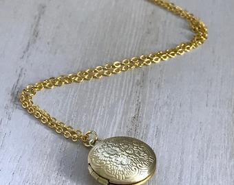 Tiny Gold Locket, Miniature Locket, Dainty Locket, Bridesmaid Locket, Personalized Photo Locket, Message Locket, Choker Locket,